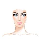 Face da mulher Ilustração pintado à mão da forma isolada no branco ilustração royalty free