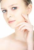 Face da mulher nova do retrato do close-up da beleza fotografia de stock