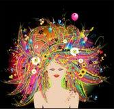Face da mulher, penteado floral festivo ilustração do vetor