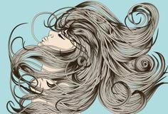 Face da mulher que lanç cabelo detalhado ilustração royalty free