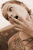Face da mulher surpreendida Fotos de Stock Royalty Free