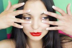 Face da mulher triguenha bonita nova Imagem de Stock Royalty Free