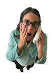 Face da surpresa da secretária Telefone Com Fotografia de Stock Royalty Free