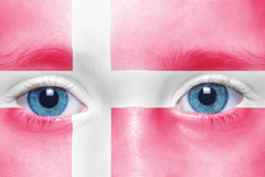 Face with danish flag. Child`s face with danish flag Royalty Free Stock Images