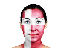 Face with the Danish flag Royalty Free Stock Photo
