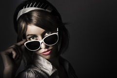 Face of dark retro fashion. Female pin-up beauty Royalty Free Stock Images