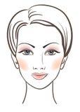 Face das mulheres da beleza com composição ilustração do vetor