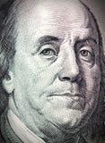 Face de Benjamin Franklin na conta de dólar Imagens de Stock