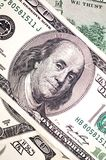Face de Benjamin Franklin na conta de dólar Fotografia de Stock