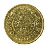 20 face de la pièce de monnaie 1991 de couronne danoise images stock