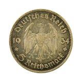 5 face de la pièce de monnaie 1934 de mark de royaume d'Allemand images stock