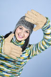 Face de quadro da menina do inverno Fotos de Stock