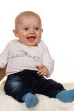 Face de um bebê querendo saber Foto de Stock