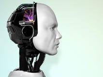 A face de um homem do robô. Fotos de Stock Royalty Free