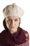 A face de uma menina bonita no inverno veste-se Imagens de Stock Royalty Free