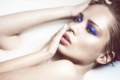 Face de uma menina 'sexy' com composição brilhante Fotografia de Stock