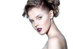 Face de uma mulher bonita imagens de stock