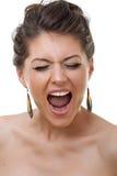 Face de uma mulher de grito nova Fotografia de Stock Royalty Free
