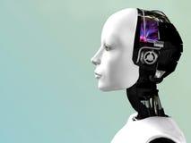 A face de uma mulher do robô. Imagens de Stock Royalty Free