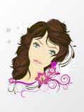 Face de Womans com elementos florais Ilustração Stock