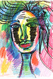 Face in decorative style. fashion illustration. pastel-6 Royalty Free Stock Images
