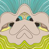 Face design with blue and light green lines. Face design blue light green lines stock images