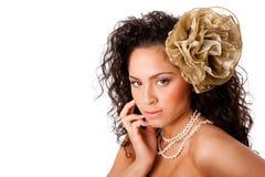 Face desobstruída bonita da pele com flor Fotografia de Stock Royalty Free