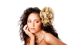 Face desobstruída bonita da pele com flor Imagem de Stock Royalty Free