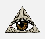 Face detailed. seeing eye in the triangle. Fashion Tattoo artwork for Girls. Engraved hand drawn in old vintage sketch. Vector surreal illustration, badges stock illustration