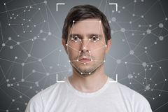 Free Face Detection And Recognition Of Man. Computer Vision And Artificial Intelligence Concept Stock Photos - 95793273