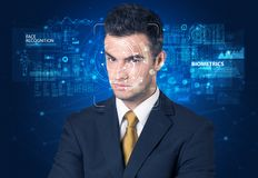 Face detection and recognition stock images