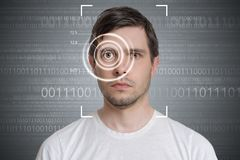 Face detection and recognition of man. Computer vision concept. Binary code in background.  royalty free stock photos