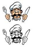 Face do cozinheiro com faca e forquilha Foto de Stock Royalty Free