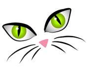 A face do gato dos desenhos animados Eyes a arte de grampo Imagens de Stock Royalty Free