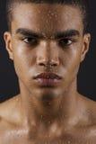 Face do homem com gotas da água fotos de stock