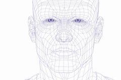 Face do homem do cyber do frame do fio Imagem de Stock Royalty Free