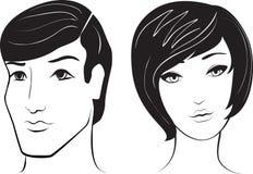 Face do homem e da mulher do vetor Fotografia de Stock