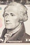 Face do presidente hamilton na conta de dólar dez Fotos de Stock Royalty Free