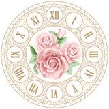 Face do relógio do vintage com rosas ilustração stock