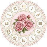 Face do relógio do vintage com rosas ilustração royalty free