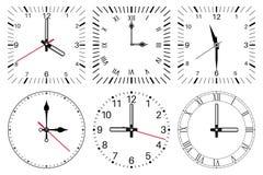 Face do relógio Em volta de e do quadrado grupo ilustração do vetor