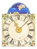 Face do relógio medieval do esmalte com rotação da lua imagens de stock
