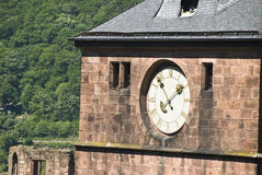 Face do relógio no exterior do castelo imagem de stock royalty free