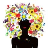 Face do verão, mulher com o penteado floral bonito ilustração royalty free