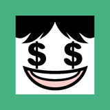 Face with dollar eyes icon Stock Images