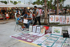 Face Drawing shop, portrait painting. Trang, Thailand - July 8, 2016: Face Drawing shop at Chinta Container Walking Street Market. Painting portrait in walking stock photo