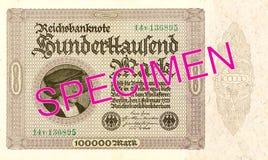 100000 face du billet de banque 1923 de mark de royaume photo stock