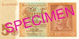 5 face du billet de banque 1942 de mark de royaume d'Allemand photos libres de droits