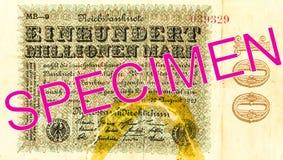 100 face du billet de banque 1923 de mark de royaume de miollions photos libres de droits