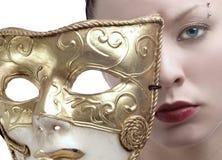 Face e máscara Imagens de Stock Royalty Free